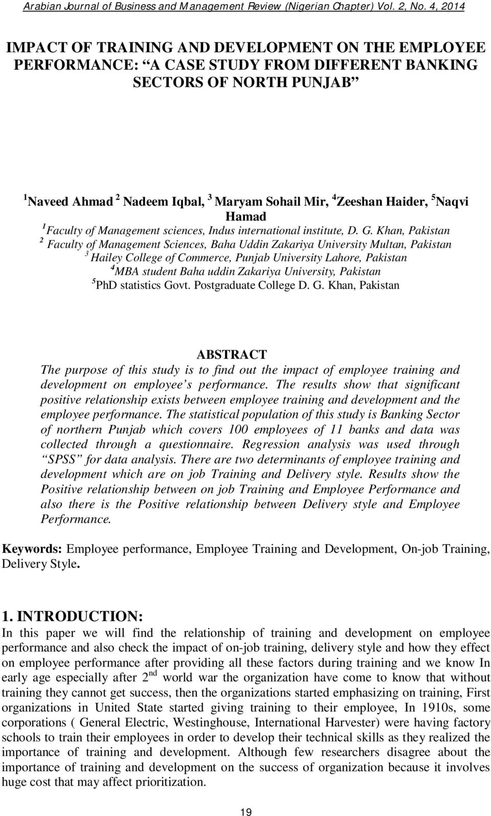 IMPACT OF TRAINING AND DEVELOPMENT ON THE EMPLOYEE PERFORMANCE: A