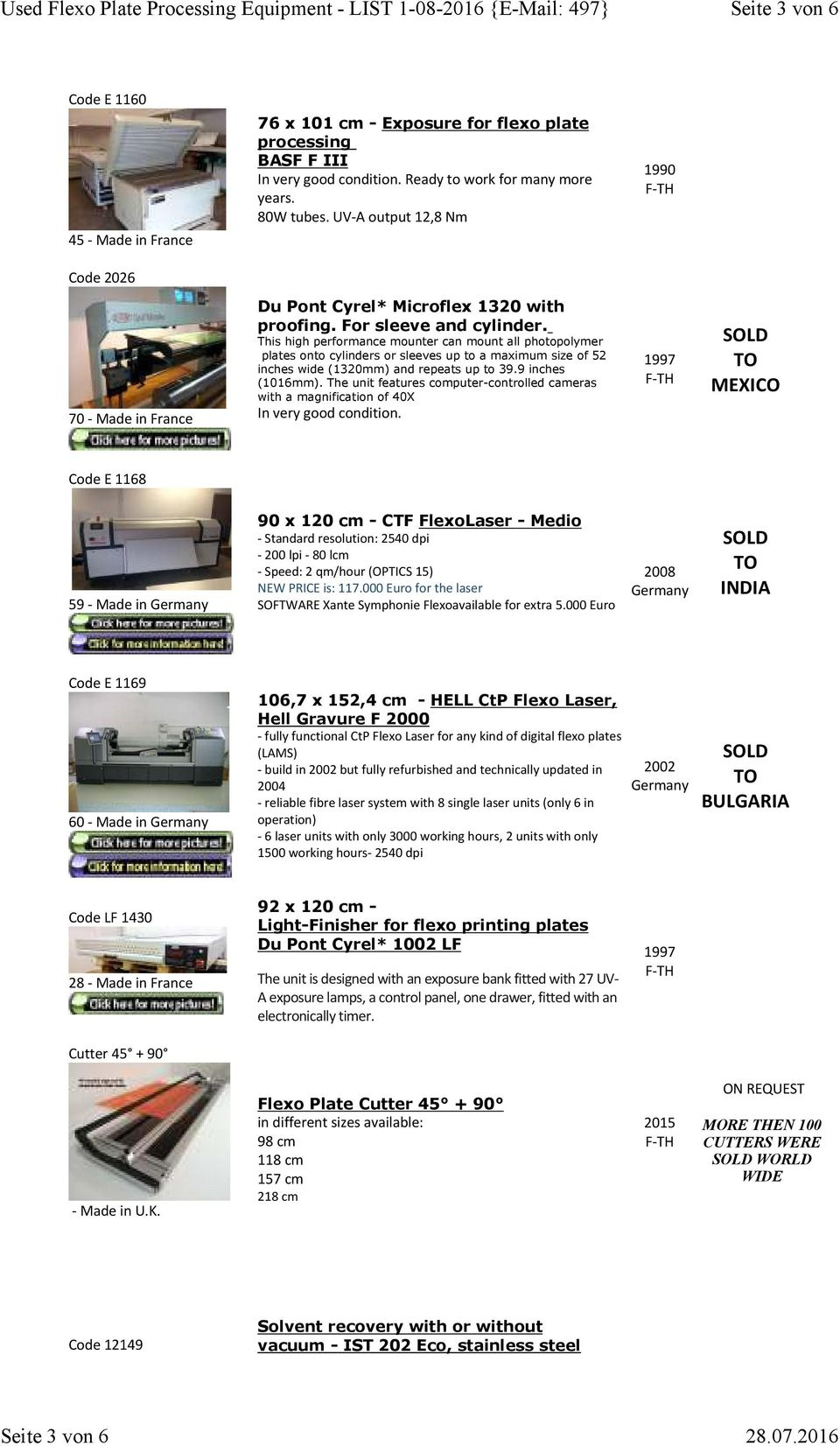 Used Flexo Plate Processing Equipment - LIST { 497} NEW in