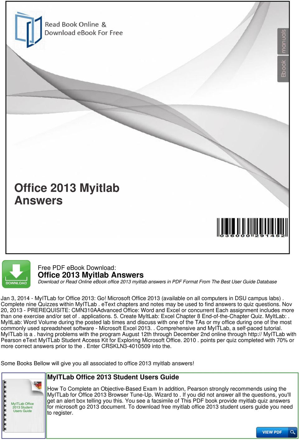 Office 2013 myitlab answers pdf nov 20 2013 prerequisite cmn310aadvanced office word and excel or concurrent each fandeluxe