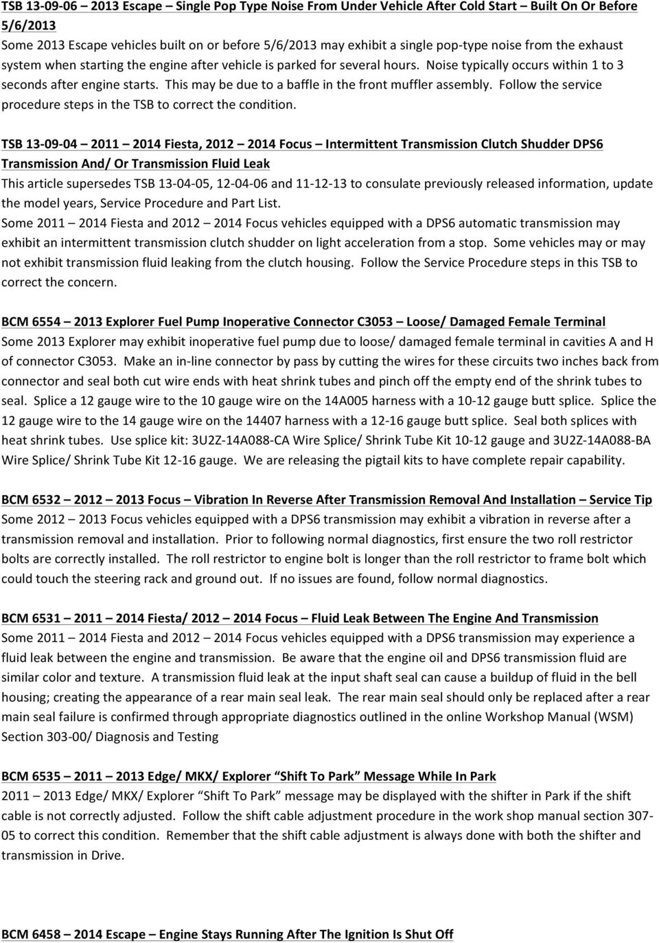 SERVICE MESSAGES & BULLENTINS MAY - SEPTEMBER 2013 CAR/SUV LINES - PDF