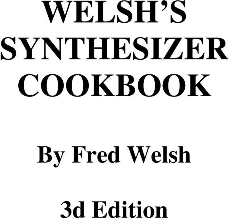 Welshs Synthesizer Cookbook Pdf