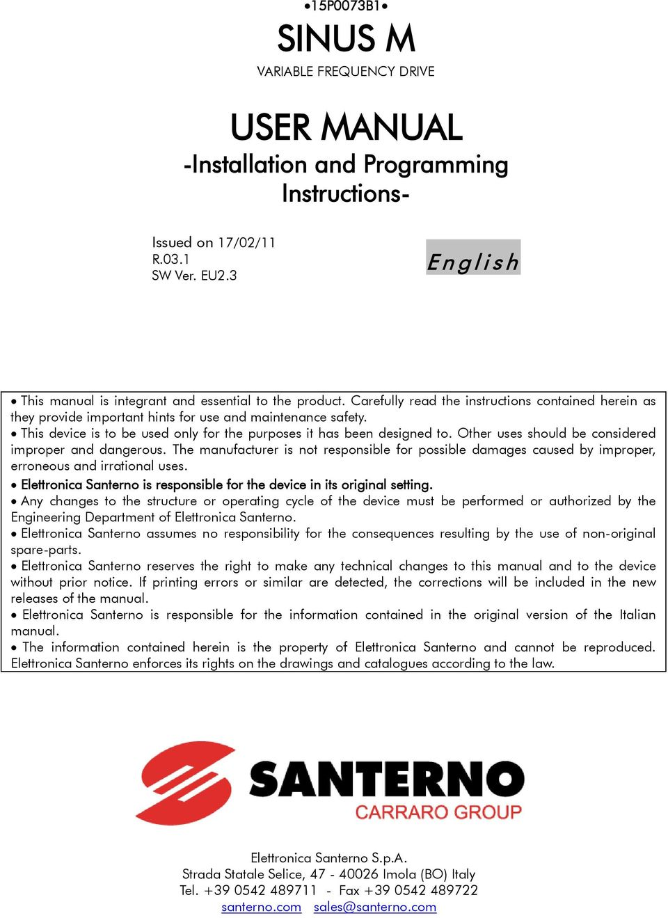 Sinus M User Manual Installation And Programming Instructions Pdf Vfd Drives Wiring Diagram This Device Is To Be Used Only For The Purposes It Has Been Designed
