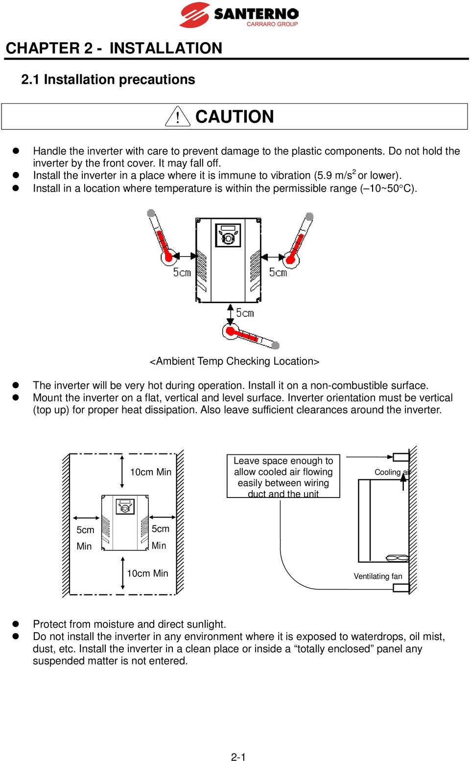 Sinus M User Manual Installation And Programming Instructions Pdf 7segdriverinverterwiringdiagramjpg Ambient Temp Checking Location The Inverter Will Be Very Hot During Operation Install