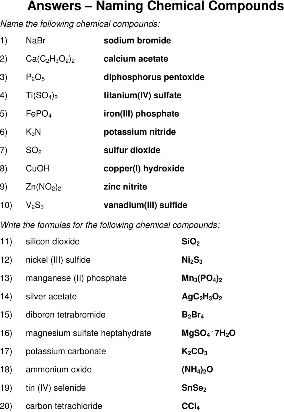 Naming Ionic Compounds Answer Key - PDF Free Download