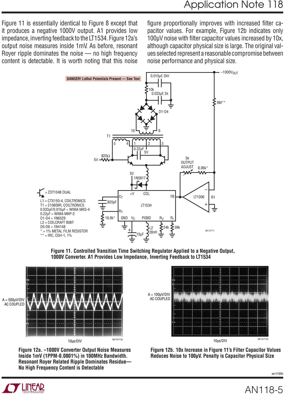 Application Note 118 March High Voltage Low Noise Dc Converters Lt1006 Precision Single Supply Op Amp Linear Technology It Is Worth Noting That This Figure Proportionally Improves With Increased Filter Capacitor Values