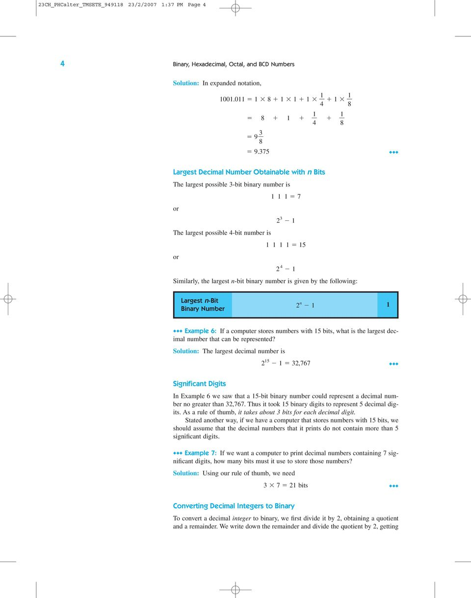 Binary Hexadecimal Octal And Bcd Numbers Pdf To Coded Decimal Converter Data Is Given By The Following Largest N Bit Number 2 1
