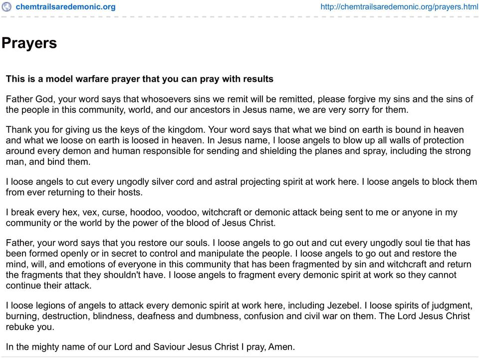 Prayers  This is a model warfare prayer that you can pray with