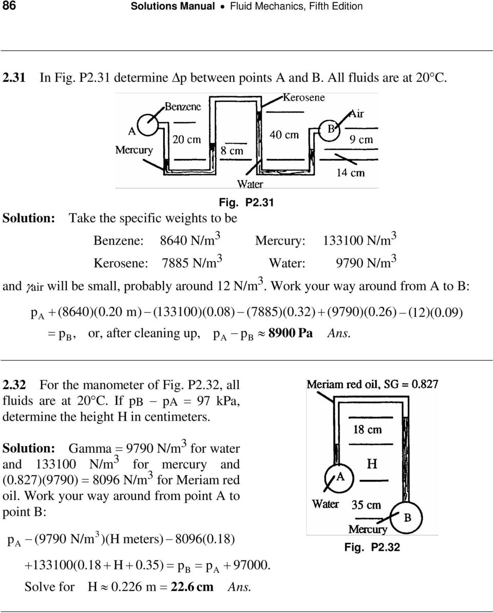 Chapter 2 Pressure Distribution In A Fluid Pdf Schematic Diagram 9790 1 Solution Take The Specific Weights To Be Benzene 8640 N M Mercury