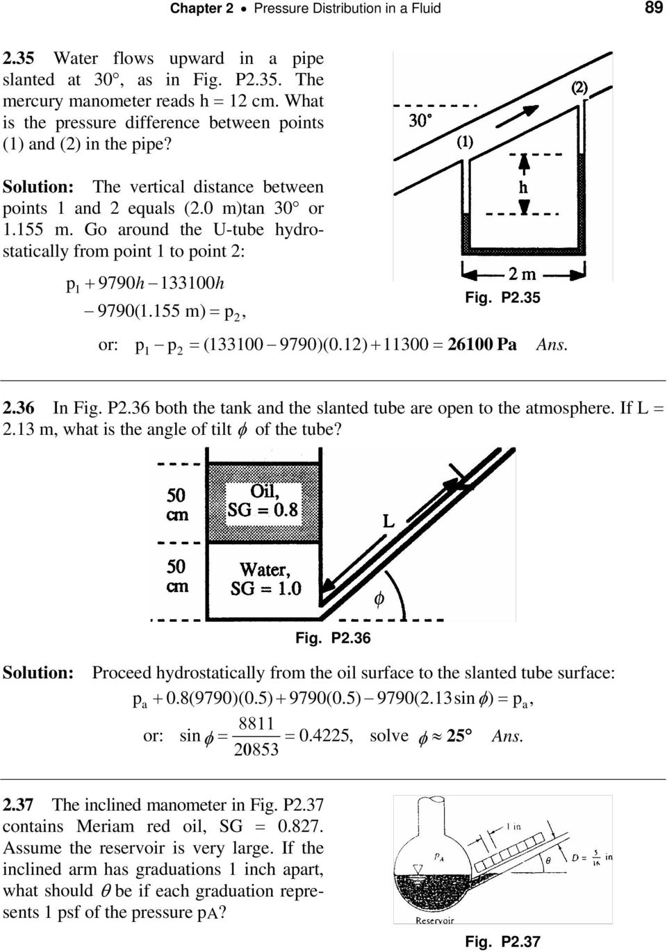 Chapter 2 Pressure Distribution In A Fluid Pdf Schematic Diagram 9790 Go Around The U Tube Hydrostatically From Point 1 To P1 9790h