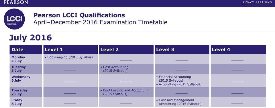 Pearson LCCI Qualifications April December 2016 Examination