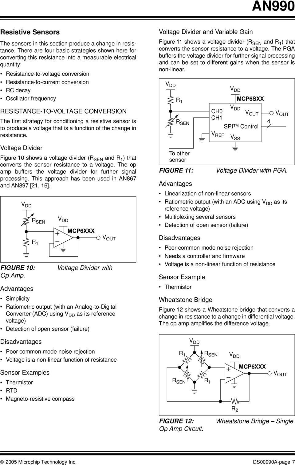 An990 Analog Sensor Conditioning Circuits An Overview Introduction Circuit Diagram Pwm To Amplified And Buffered Linear Signal Converter Frequency Resistance Voltage Conversion The First Strategy For A Resistive Is