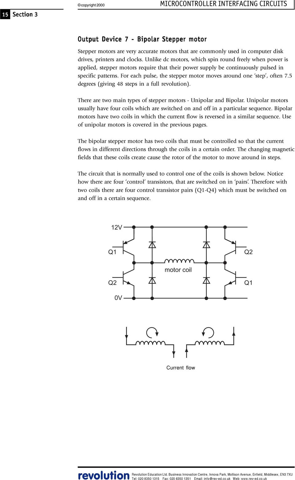Microcontroller Interfacing Circuits Pdf Rs232 Line Booster Internal Circuit Diagram For Signal Flow Determination Each Pulse The Stepper Motor Moves Around One Step Often 75 Degrees