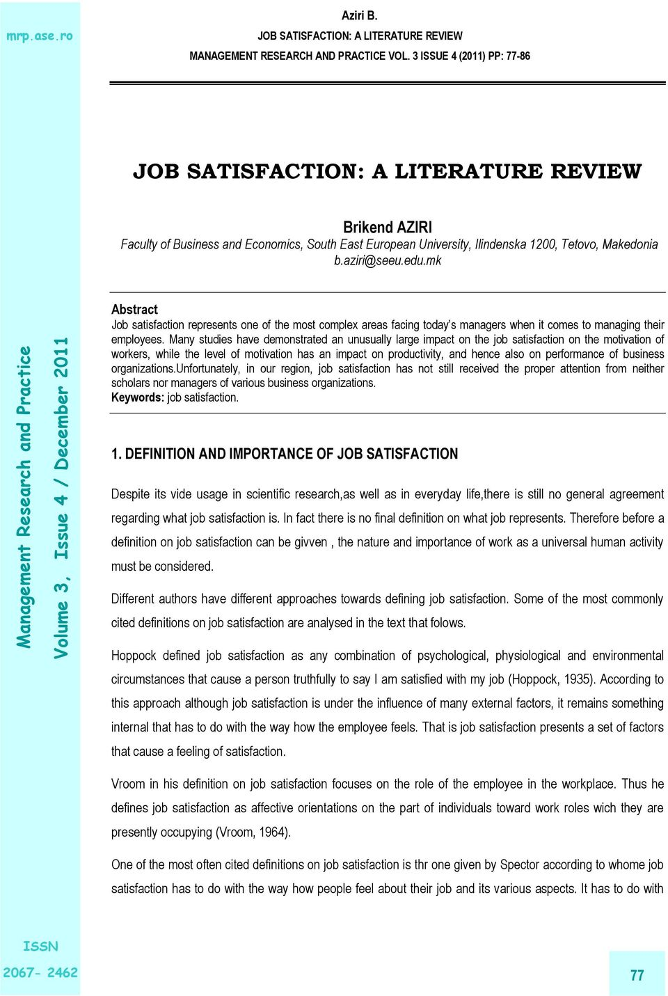 Job Satisfaction A Literature Review Pdf