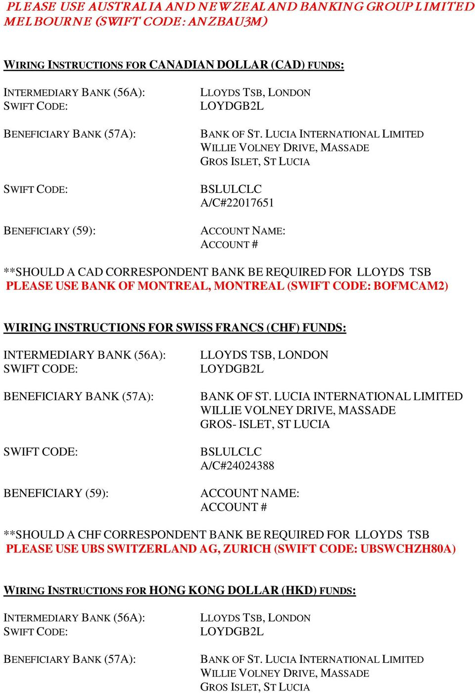 Boslil Settlement Instructions For Commercial Payments In Pdf Rh Docplayer Net