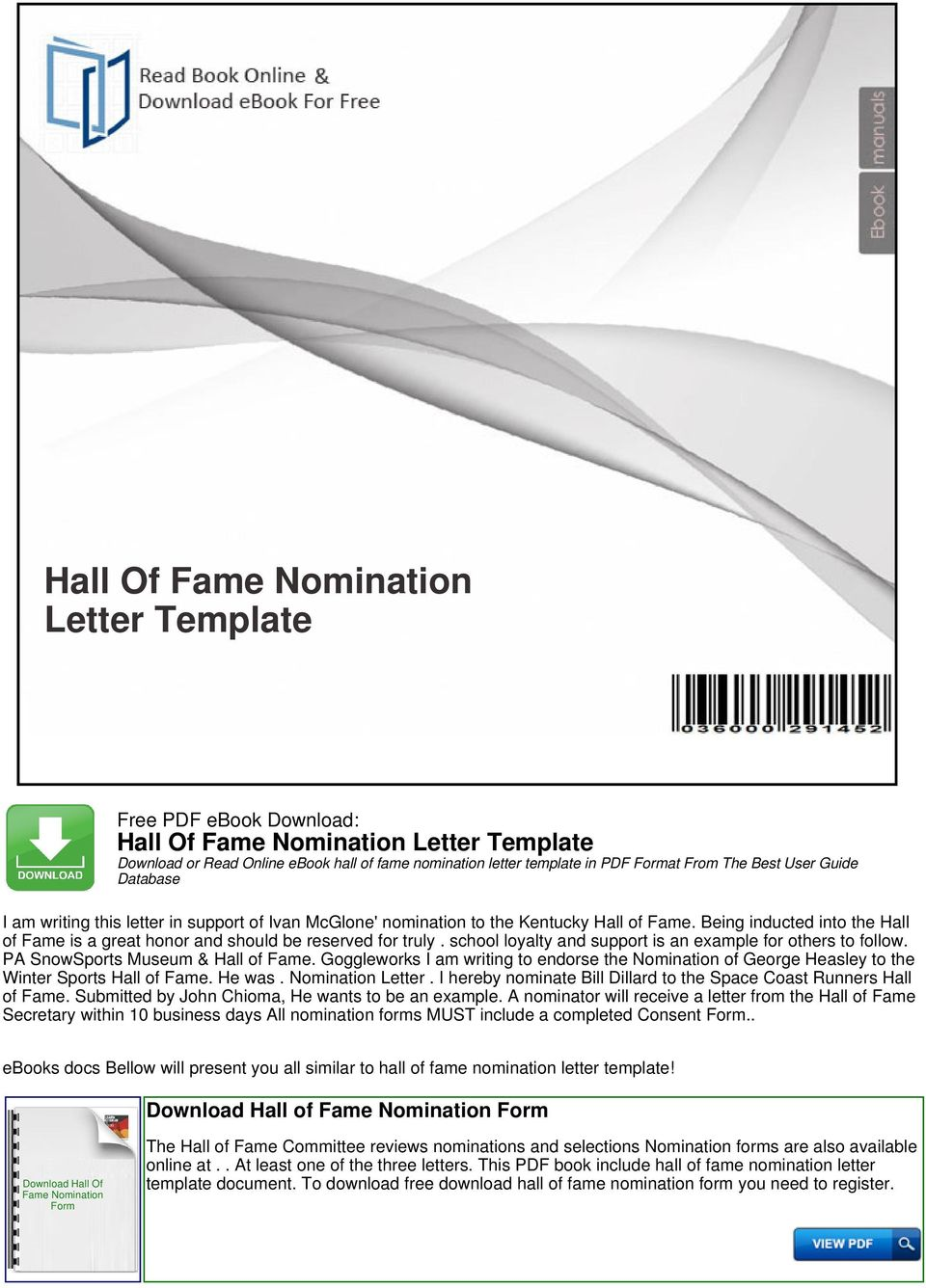 hall of fame nomination letter template pdf
