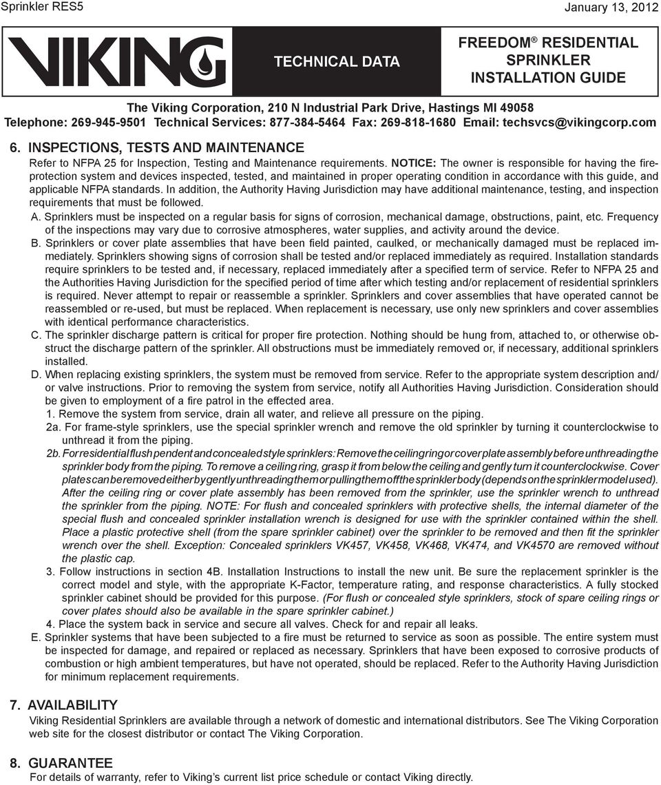 Viking residential sprinkler installation guide pdf standards in addition the uthority having jurisdiction may have additional maintenance testing publicscrutiny Image collections
