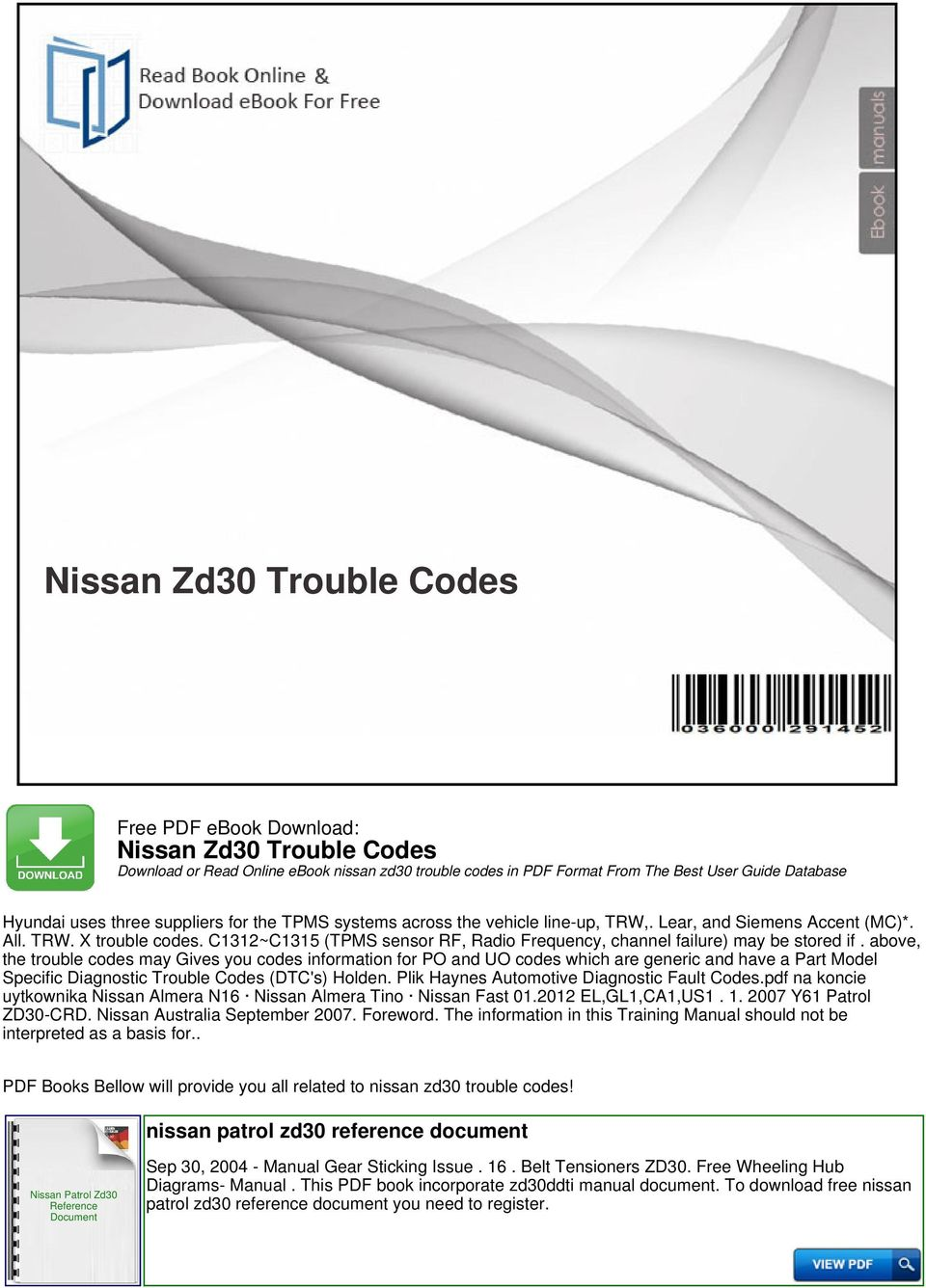 Nissan Zd30 Trouble Codes Pdf Patrol Wiring Diagram Download Transcription