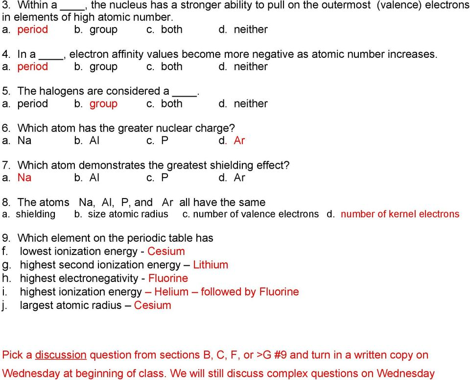 SCPS Chemistry Worksheet Periodicity A Periodic Table 1