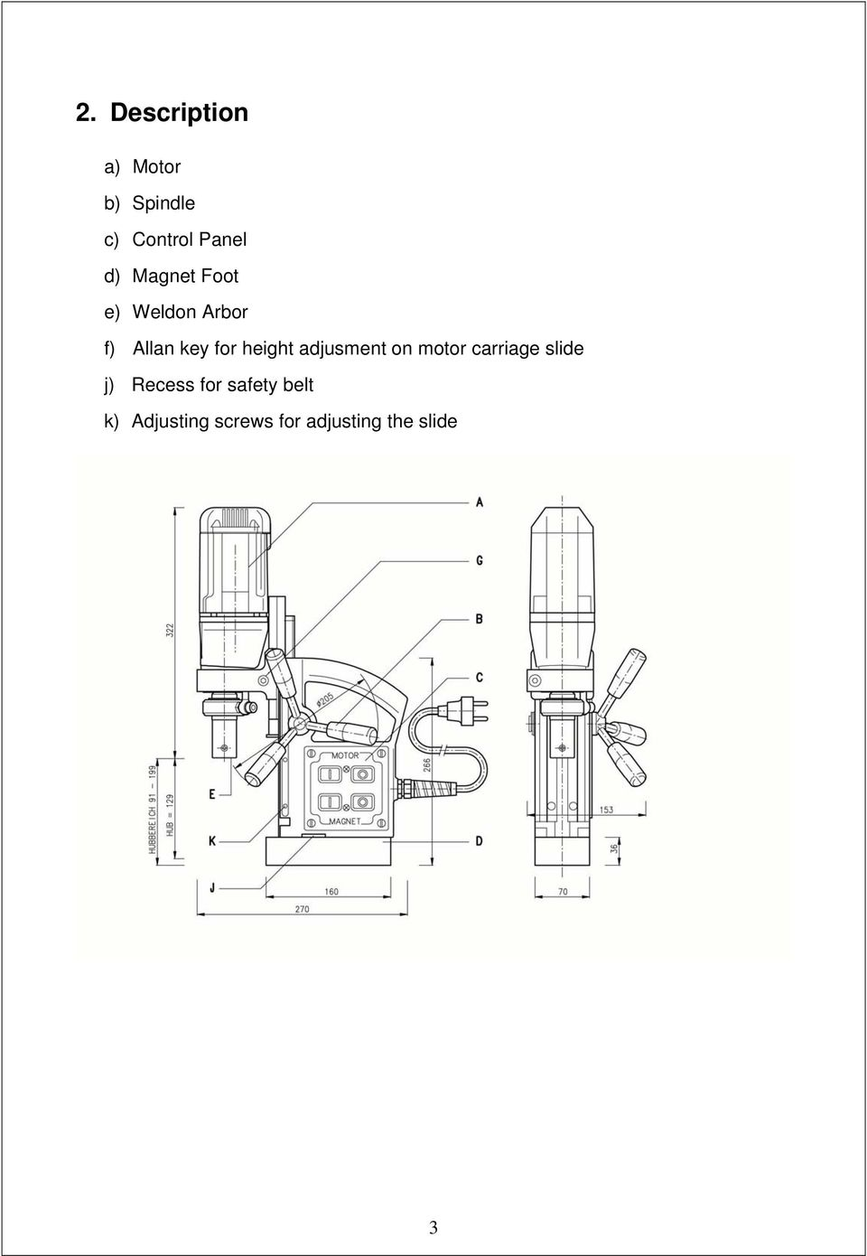 Alfra Rotabest Piccolo 32 50 Weldon Metal Core Drilling Machine Magnetic Chuck Wiring Diagram Height Adjusment On Motor Carriage Slide J Recess