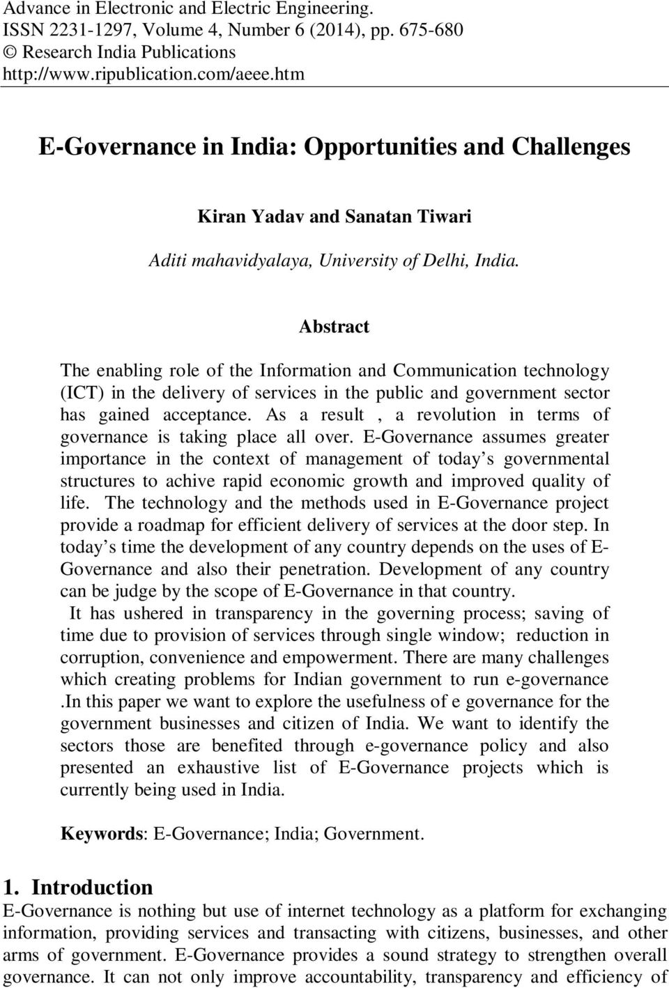 research papers on e-governance in india