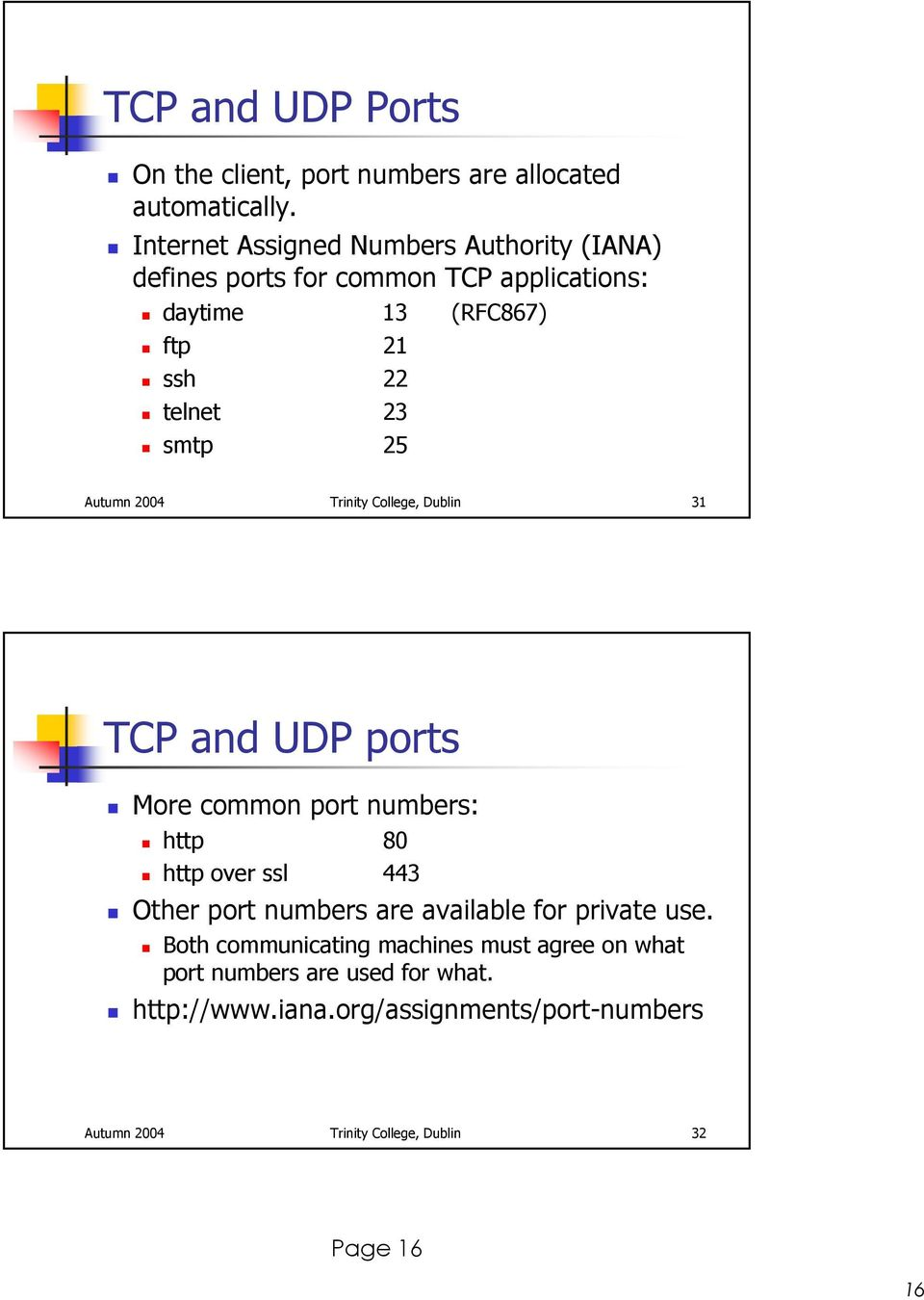 25 Autumn 2004 Trinity College, Dublin 31 TCP and UDP ports More common port numbers: http 80 http over ssl 443 Other port numbers are