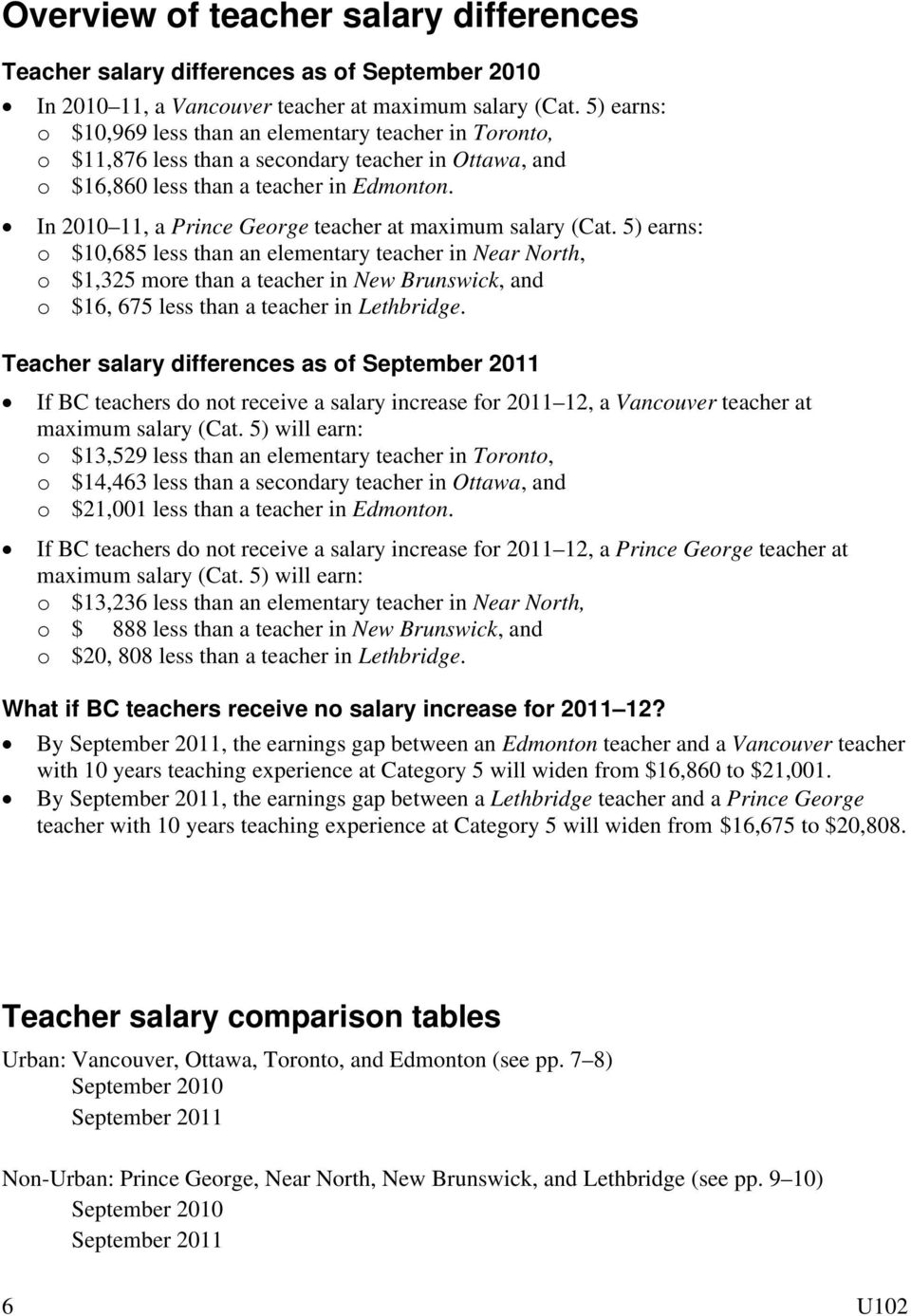 In 2010 11, a Prince George teacher at maximum salary (Cat.