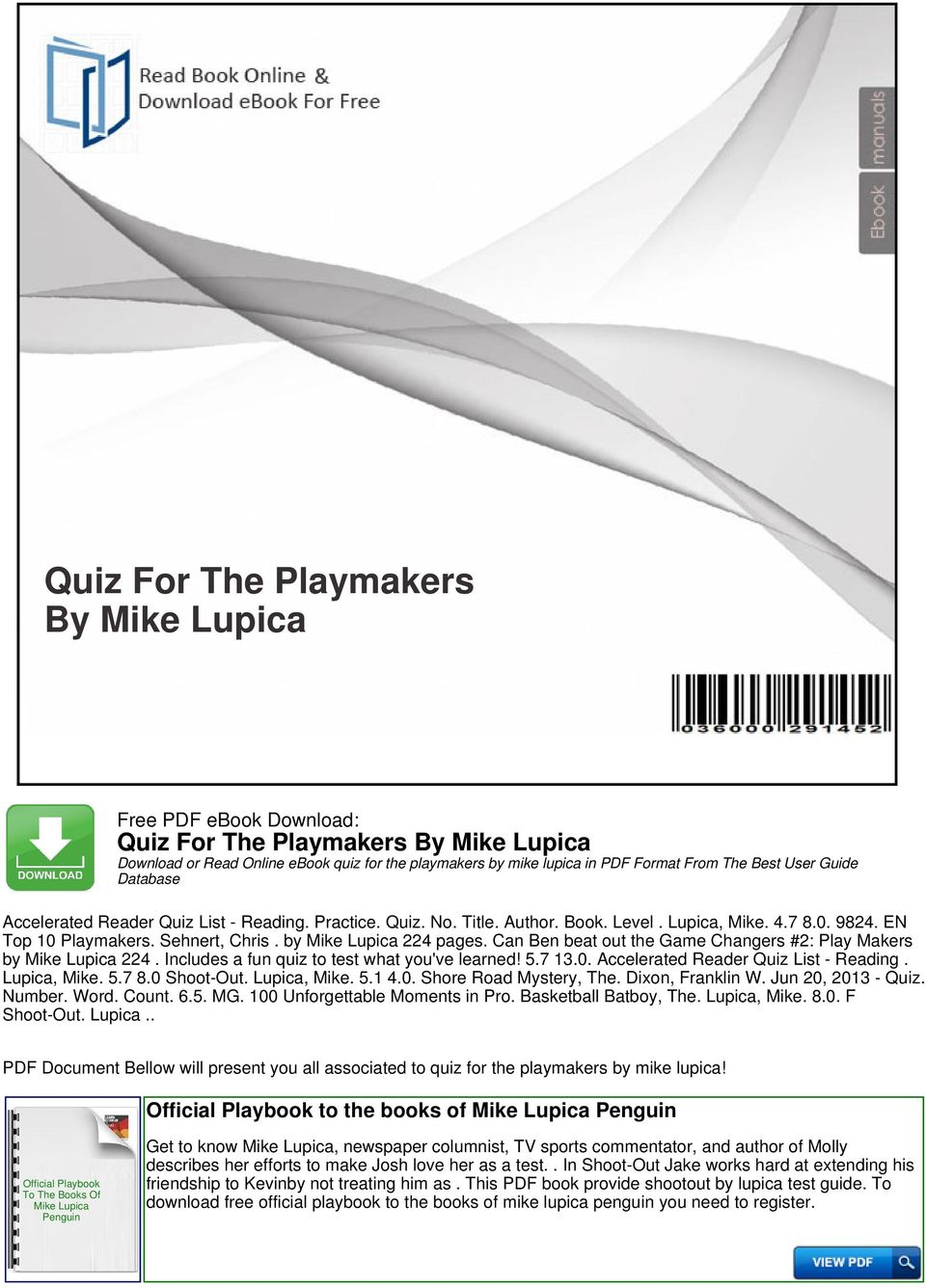 Quiz for the playmakers by mike lupica pdf can ben beat out the game changers 2 play makers by mike lupica 224 fandeluxe