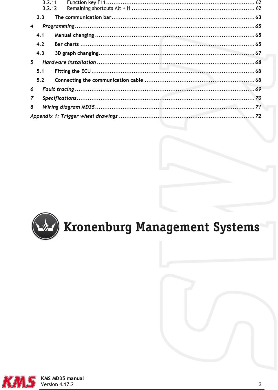 Contents Page Kms Md35 Manual Version Pdf Key Wiring Diagram Chart 67 5 Hardware Installation 68 51 Fitting The Ecu