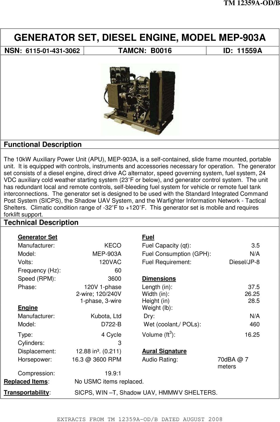 GENERATOR SET, DIESEL ENGINE, MODEL MEP-903A - PDF