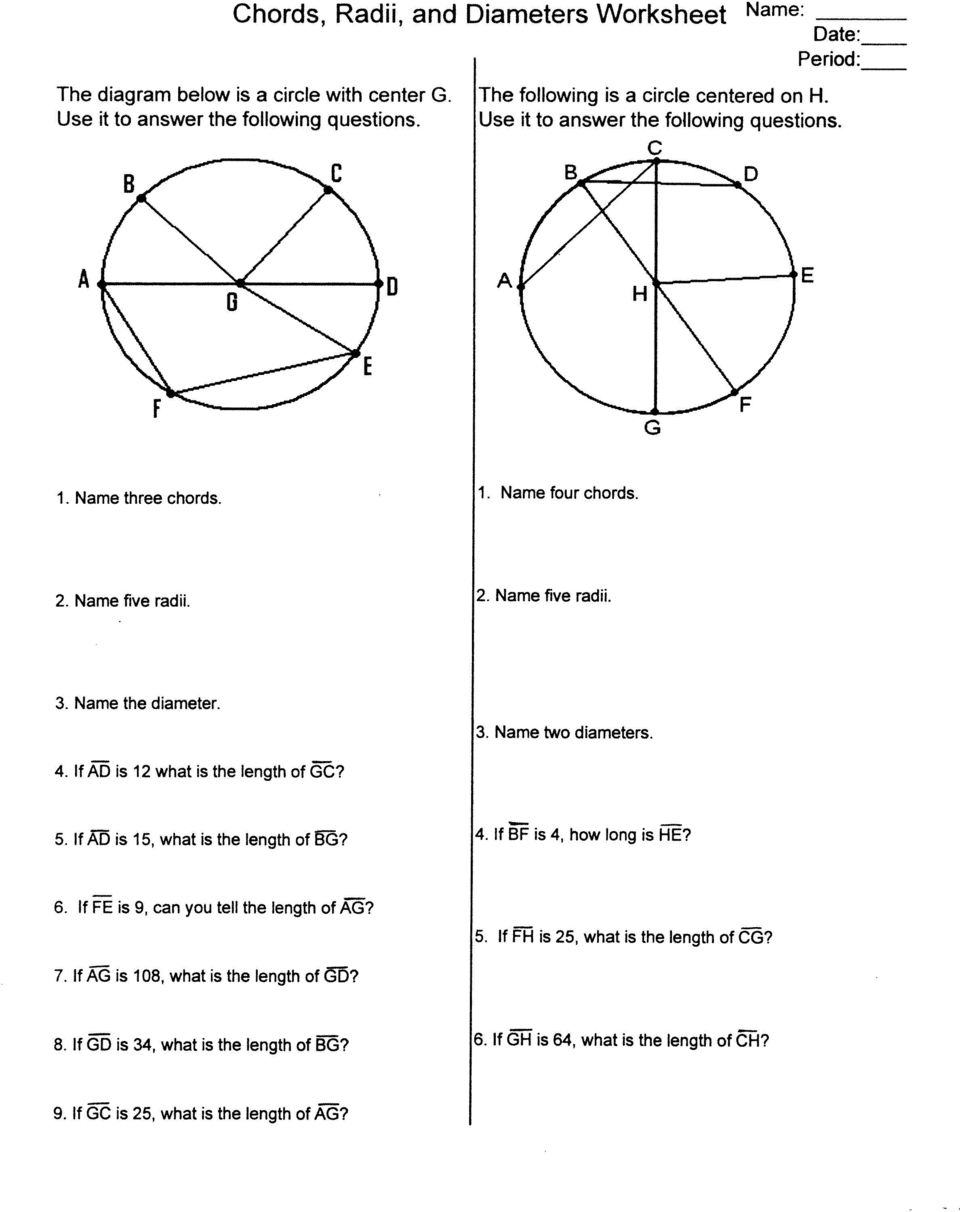 Workbooks worksheets on circumference and area of a circle : Chords, Radii, and Diameters Worksheet Name: - PDF