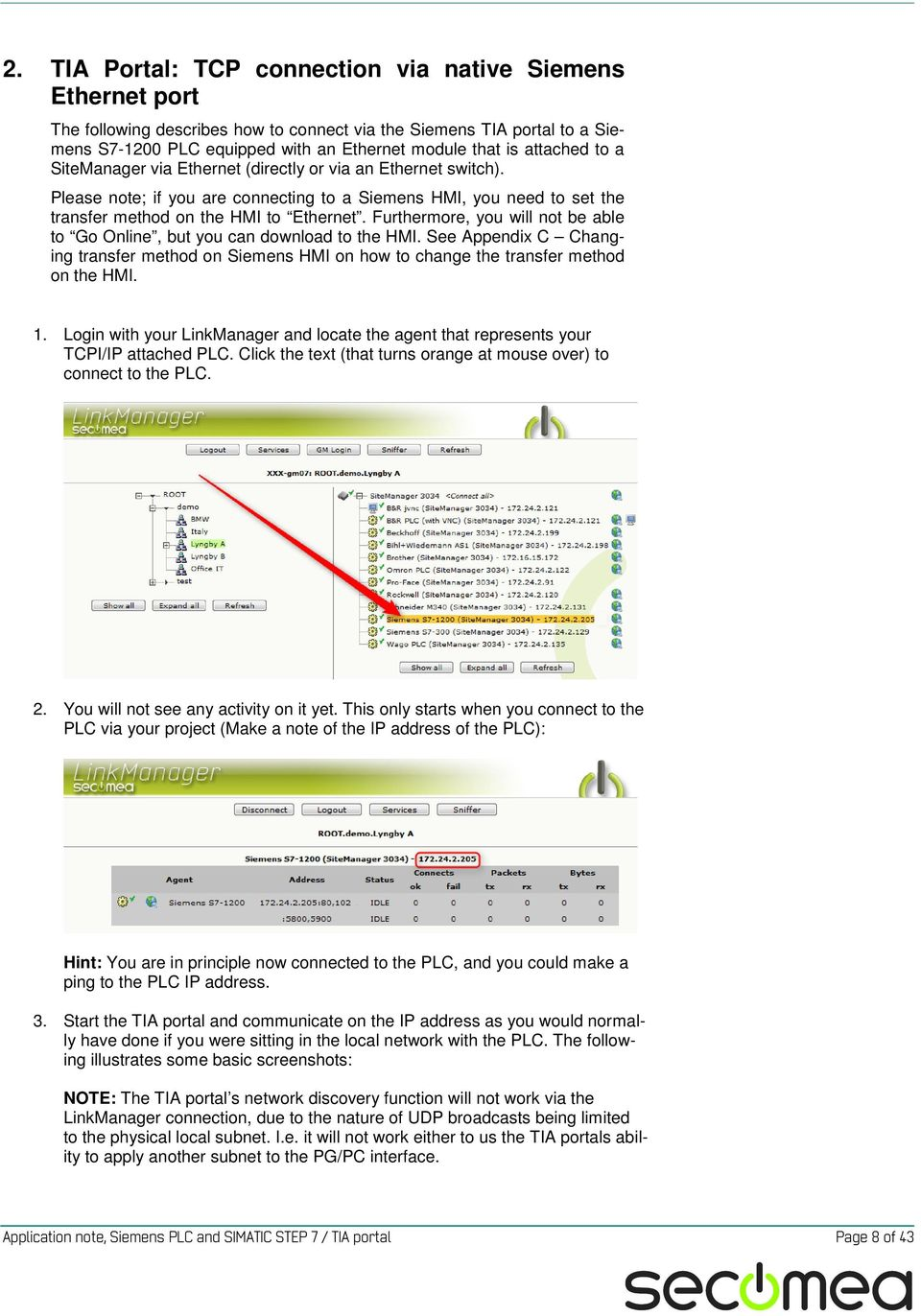 Application Note Siemens PLC and SIMATIC STEP 7 / TIA Portal
