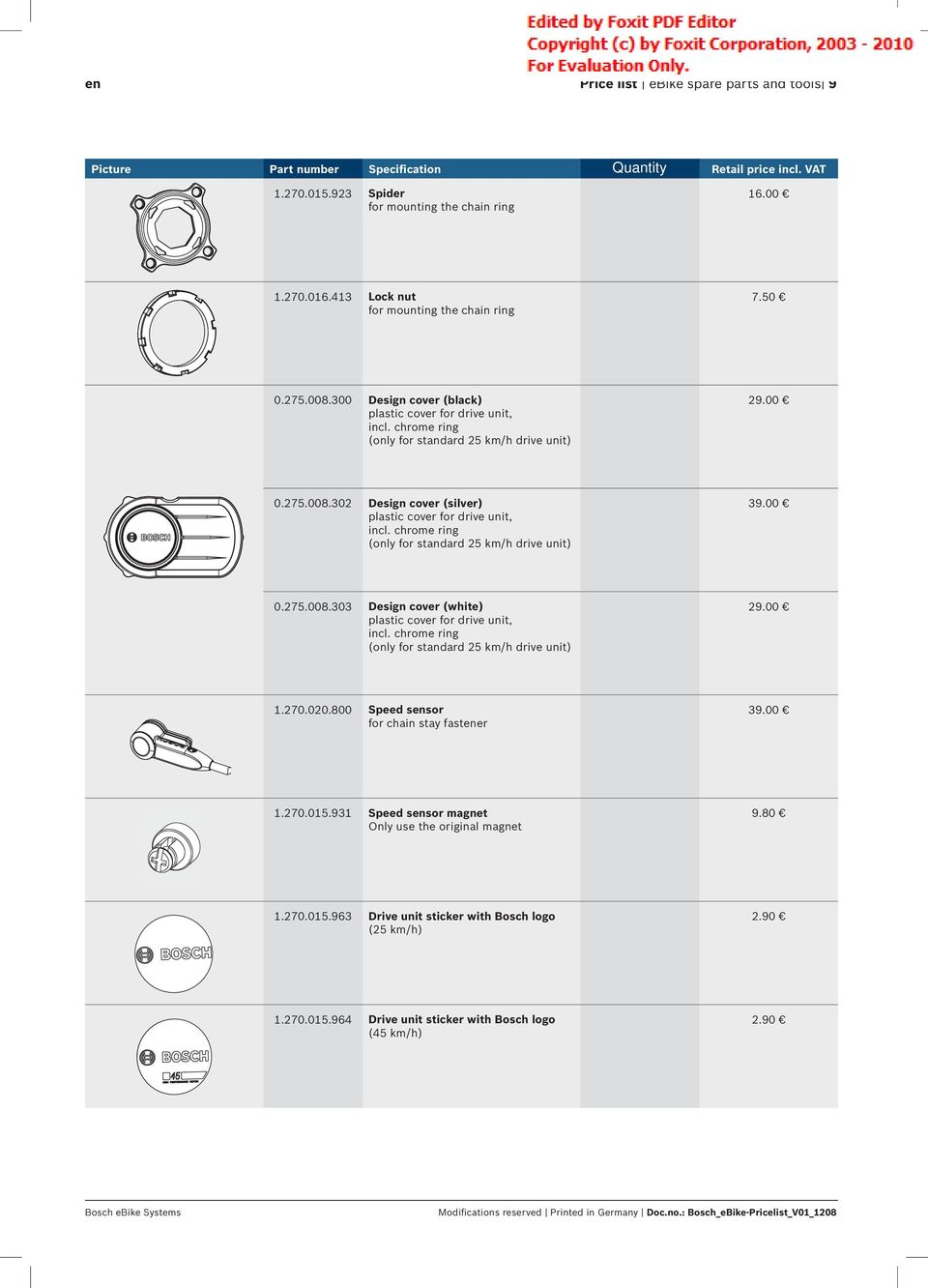 Bosch Ebike Systems Price List I Spare Parts And Tools Pdf Spannfixcircuitboardholder Chrome Ring Only For Standard 25 Km H Drive Unit 3900 0275