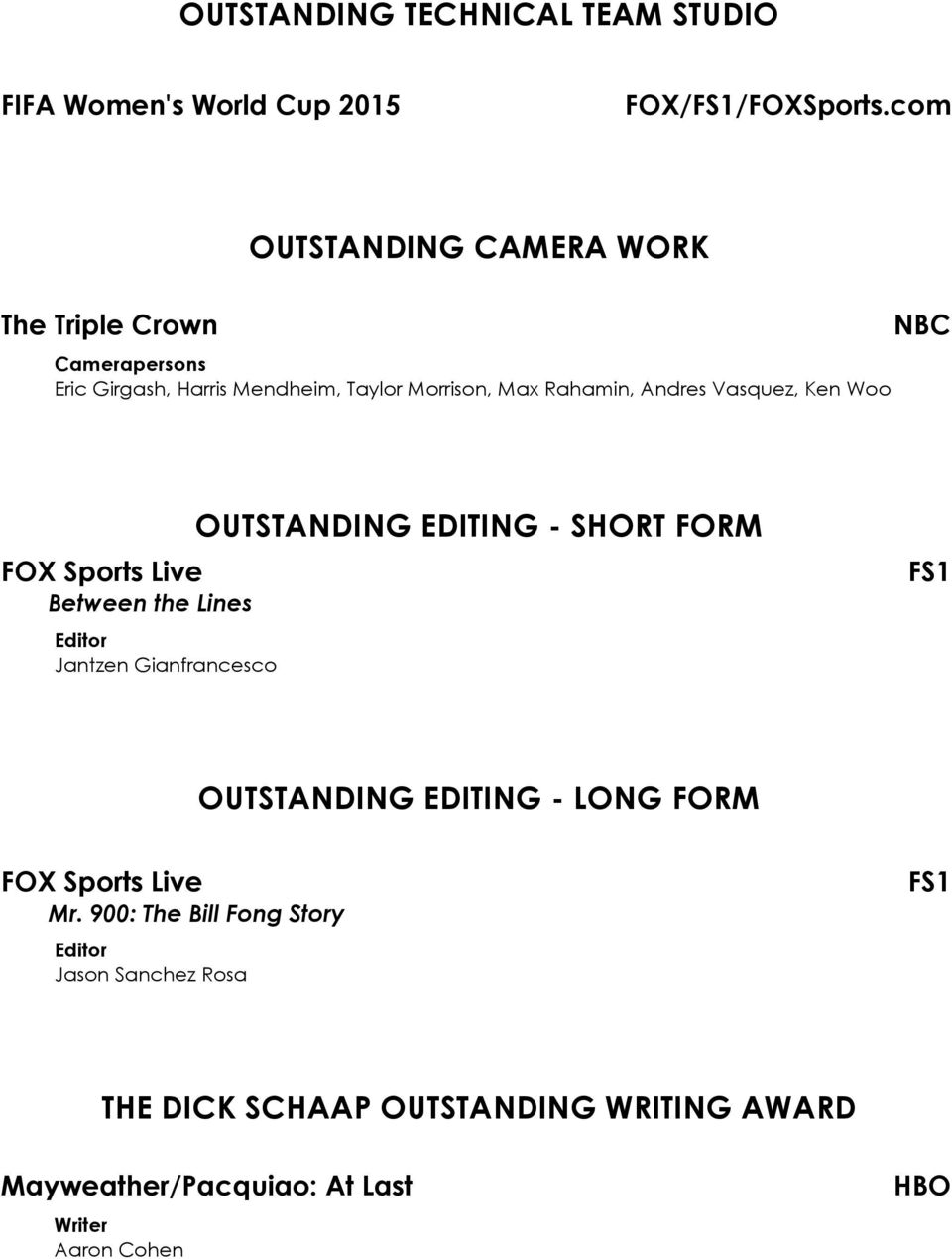 The National Academy Of Television Arts Sciences Announces Winners