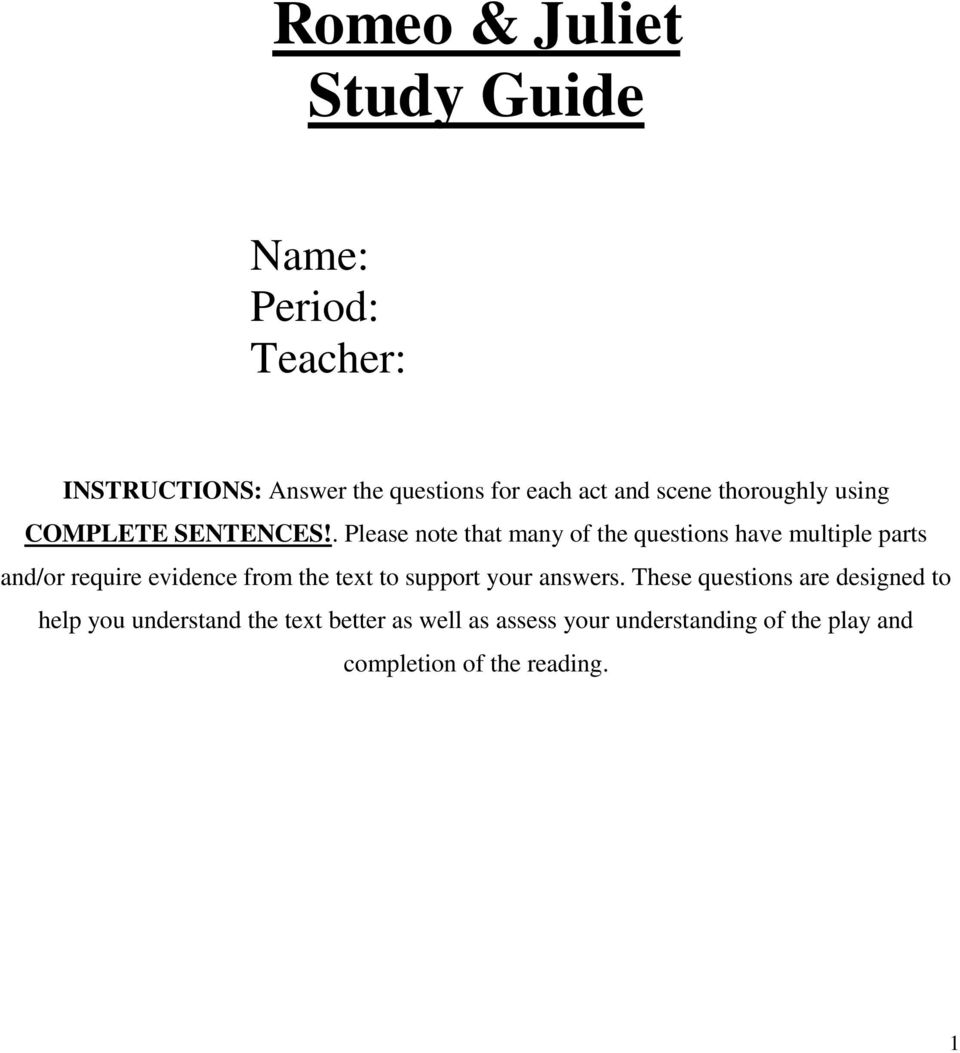 romeo and juliet act i reading and study guide