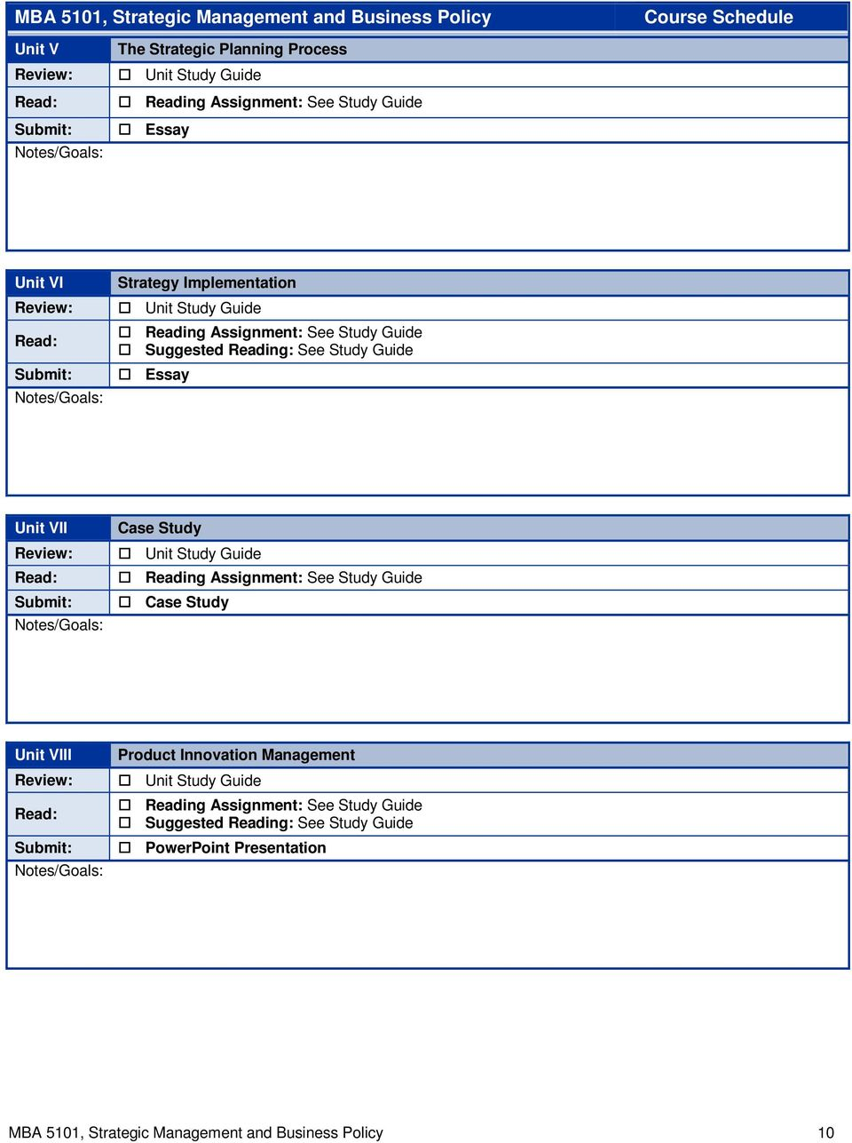 Mba 5101 Strategic Management And Business Policy Course Syllabus