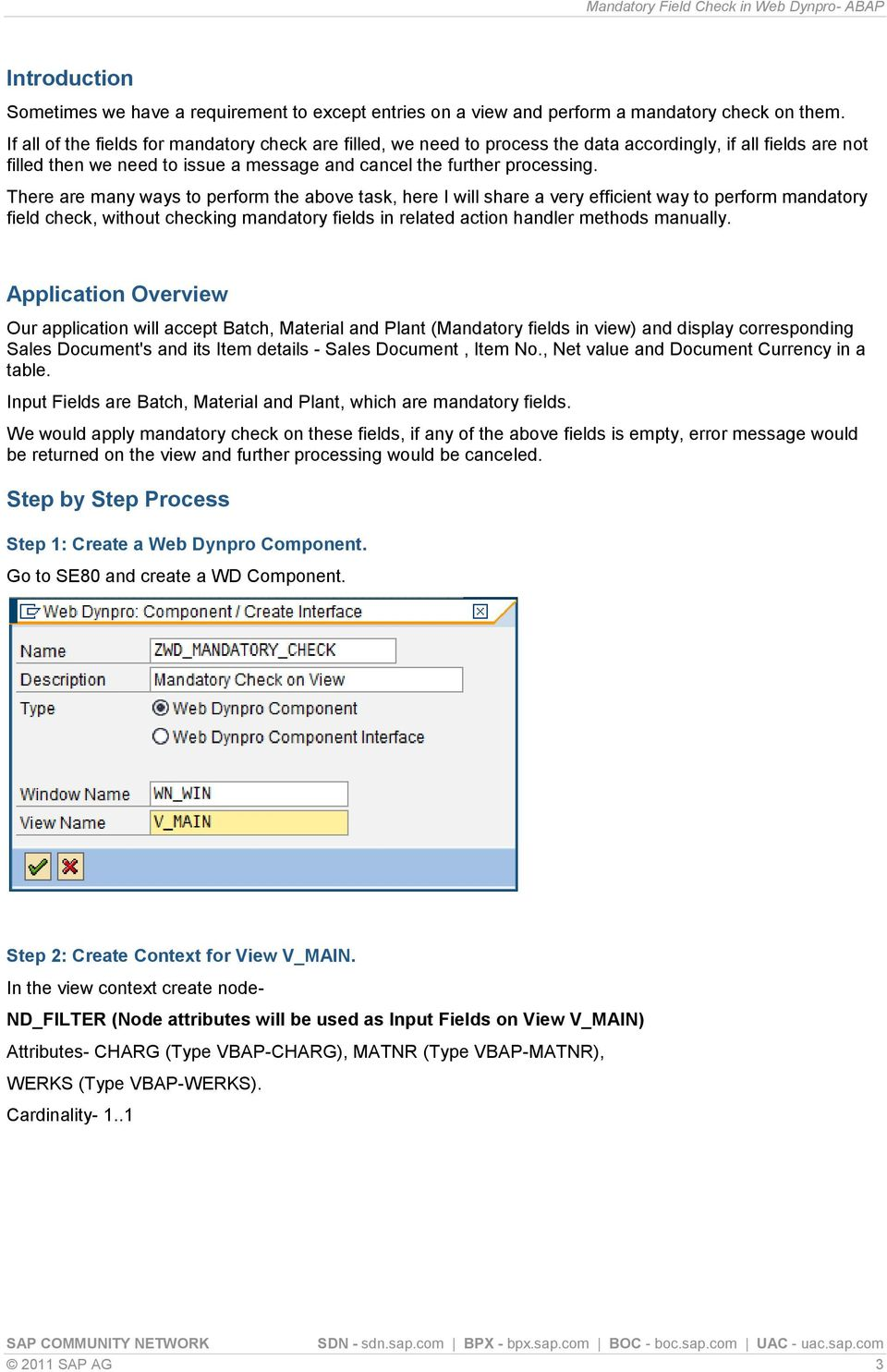 Mandatory Field Check in Web Dynpro- ABAP - PDF