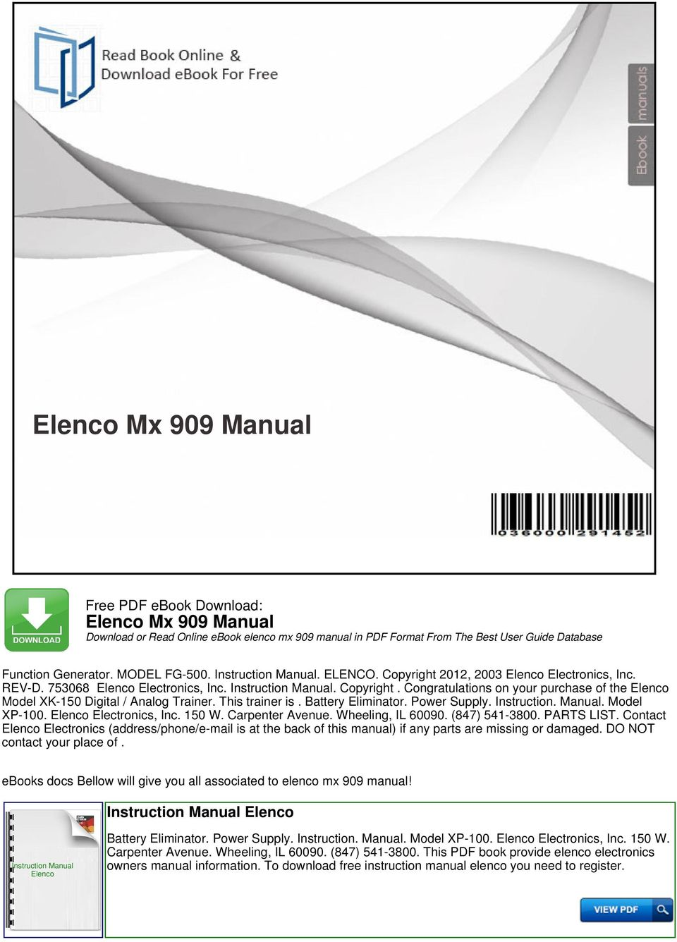 Elenco Mx 909 Manual Download Or Read Online Ebook Pdf 1997 Toyota Corolla Cruise Control Circuit Wiring Diagrams This Trainer Is Battery Eliminator Power Supply Instruction Model Xp