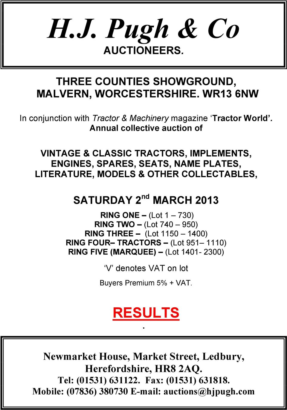 H J  Pugh & Co AUCTIONEERS  THREE COUNTIES SHOWGROUND