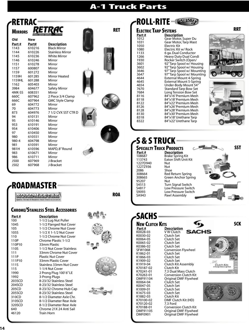 A 1 Truck Parts Speciality Book Index Pdf Electric Tarp Relay 604976 7 2 Cvx Sst Ctr D 94 610131 Mirror 95 610146 953