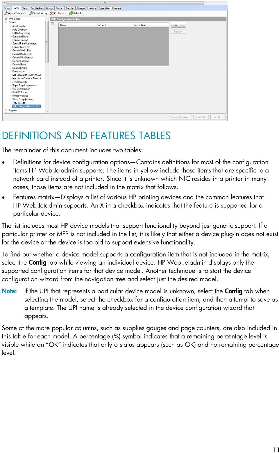 SUPPORTED PRINTER FEATURES - PDF