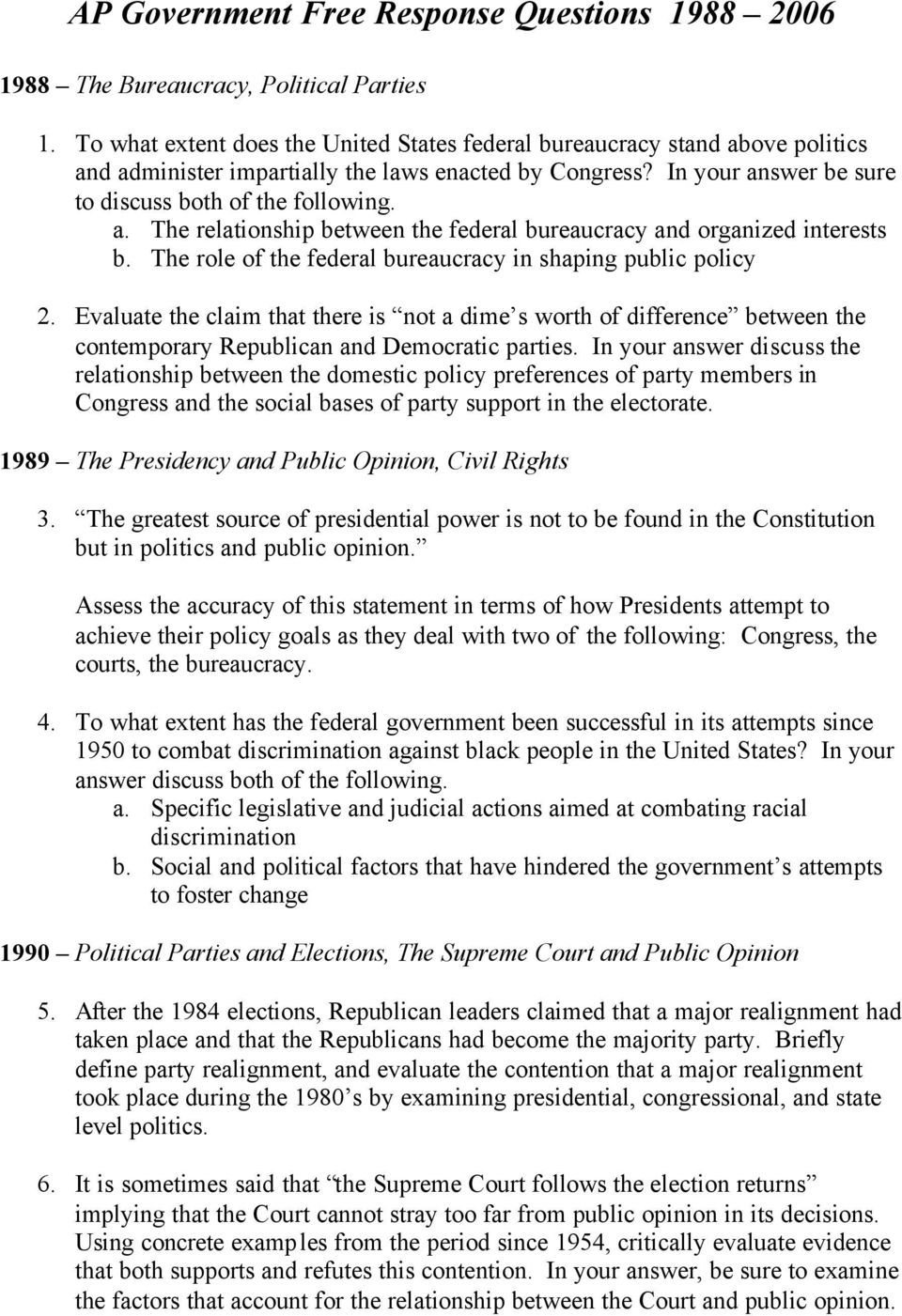 Ap Government Free Response Questions Pdf Free Download