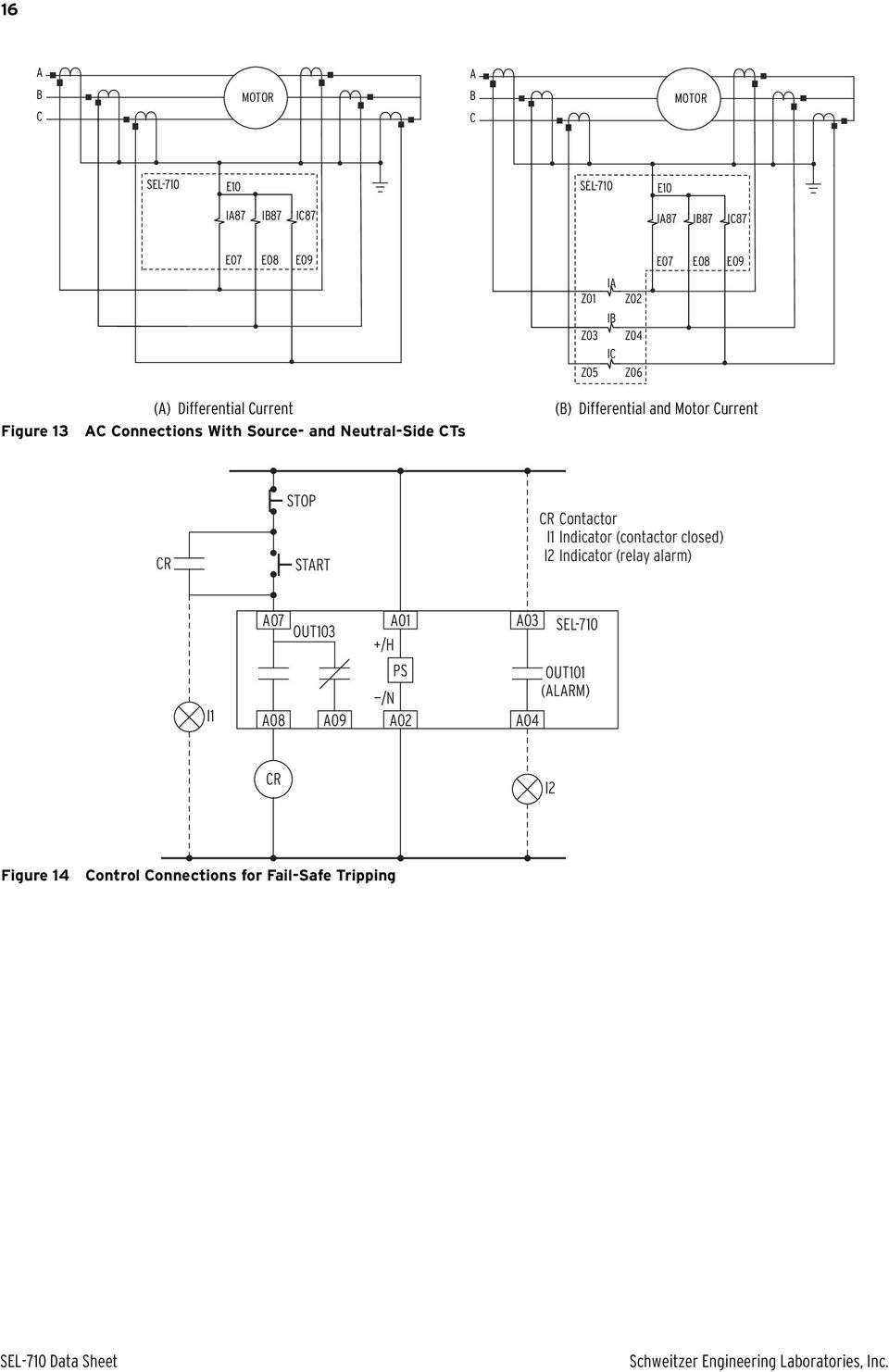 Sel 710 Motor Protection Relay Pdf Current Start Differential And Cr Stop Contactor I1 Indicator Closed I2