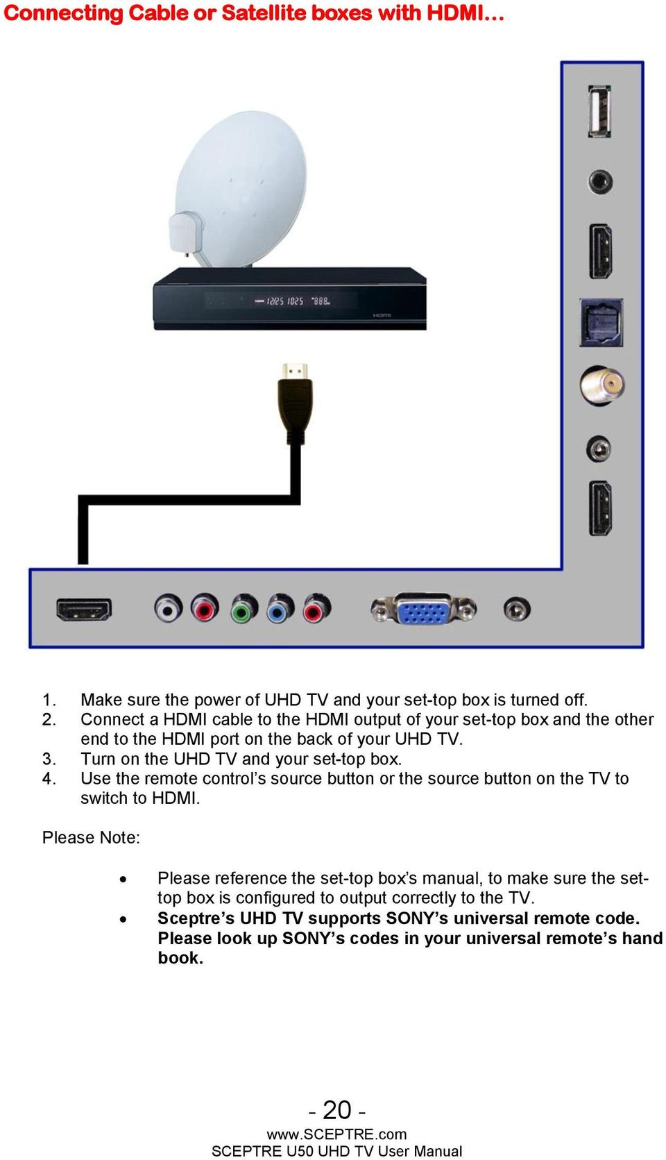 Sceptre U50 Uhd Tv User Manual Pdf General Plasma Service Turn On The And Your Set Top Box 4 Use