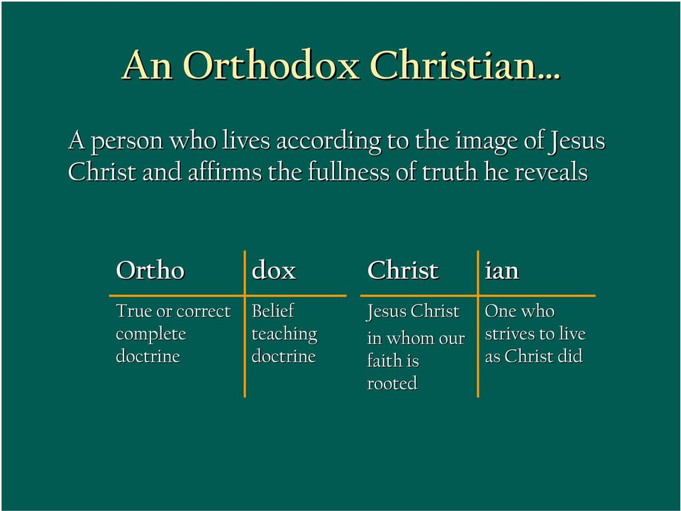 Christ ian True or correct complete doctrine Belief teaching doctrine