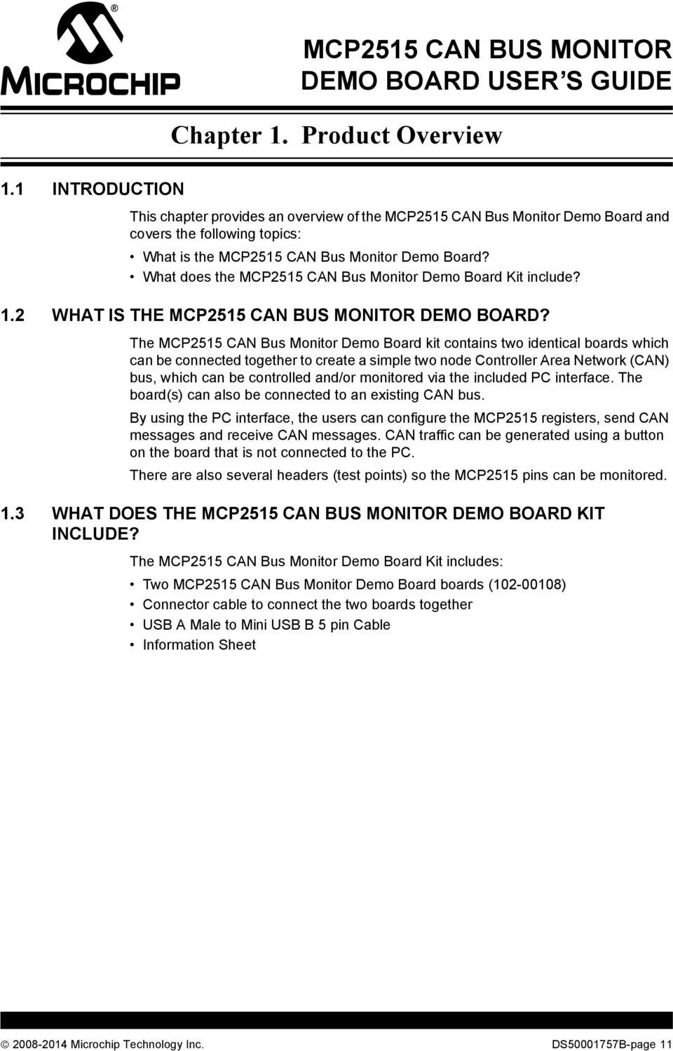 MCP2515 CAN Bus Monitor Demo Board User s Guide - PDF
