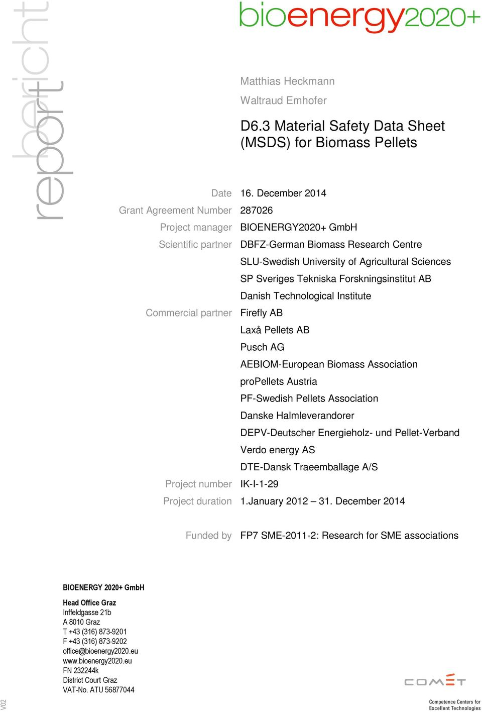 Unika D6.3 Material Safety Data Sheet (MSDS) for Biomass Pellets - PDF UO-51