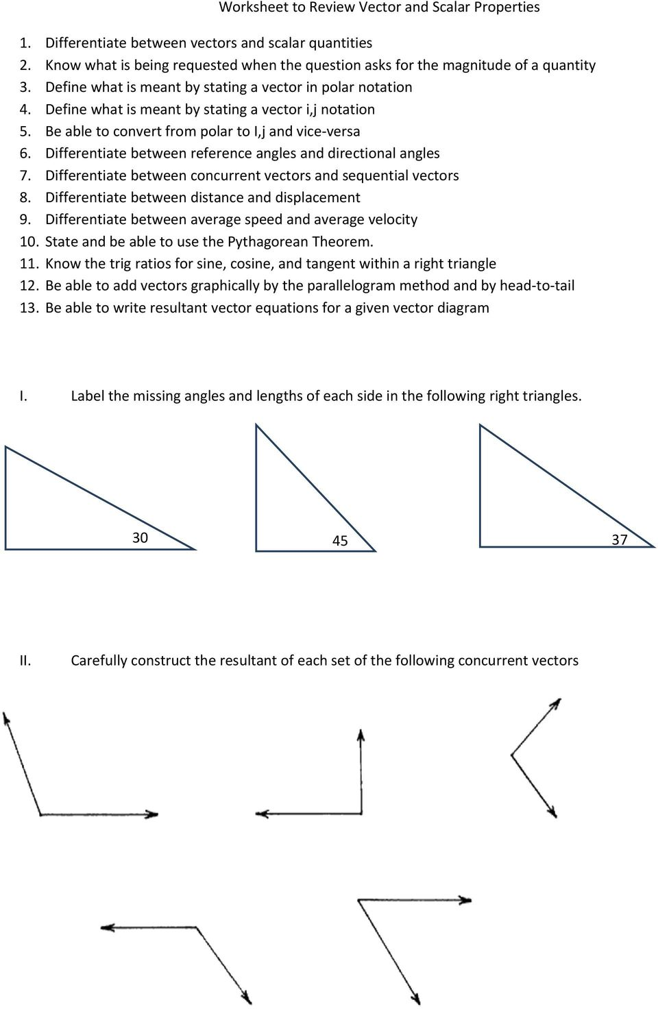 Worksheet To Review Vector And Scalar Properties Pdf Free Download Graphical addition of vectors worksheet