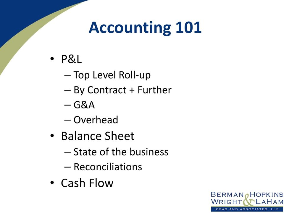 Overhead Balance Sheet State of