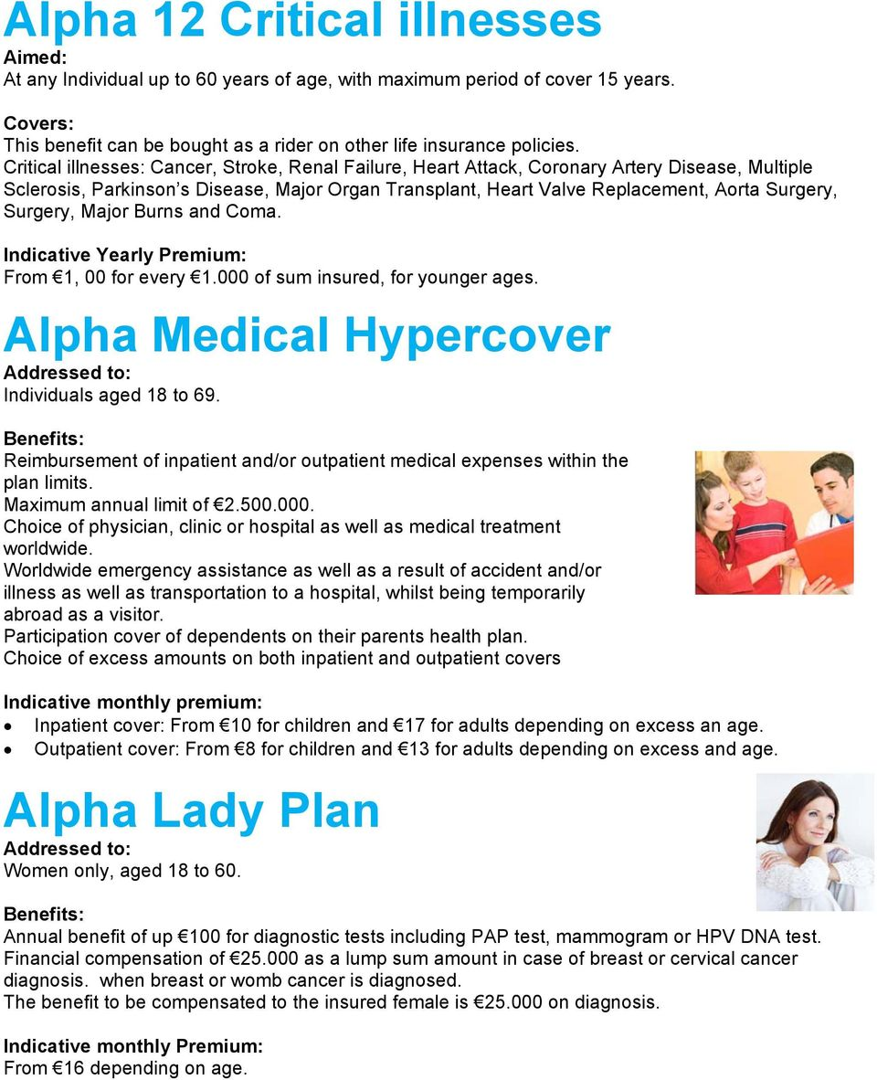Surgery, Major Burns and Coma. From 1, 00 for every 1.000 of sum insured, for younger ages. Alpha Medical Hypercover Addressed to: Individuals aged 18 to 69.