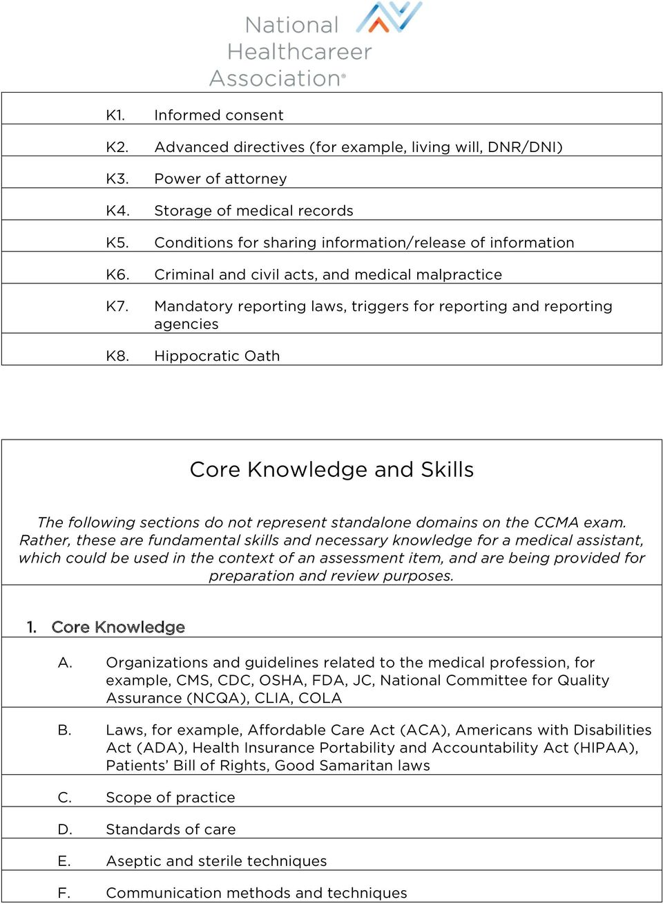 Hippocratic Oath Core Knowledge and Skills The following sections do not  represent standalone domains on the